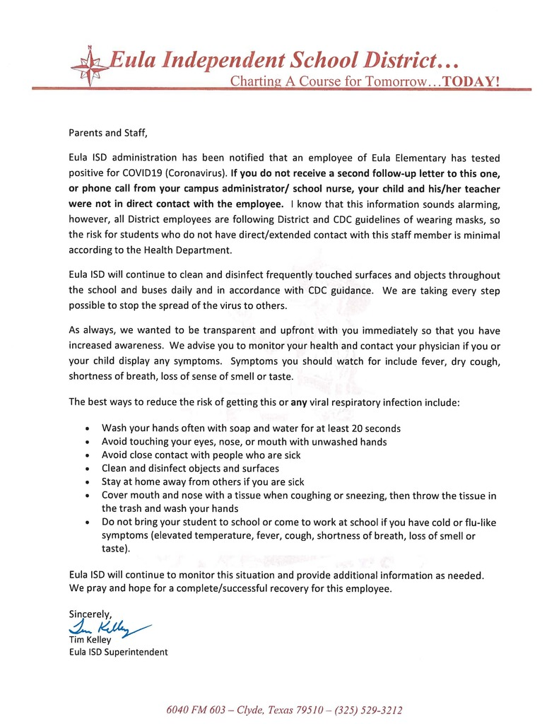 Employee Positive Notification Letter