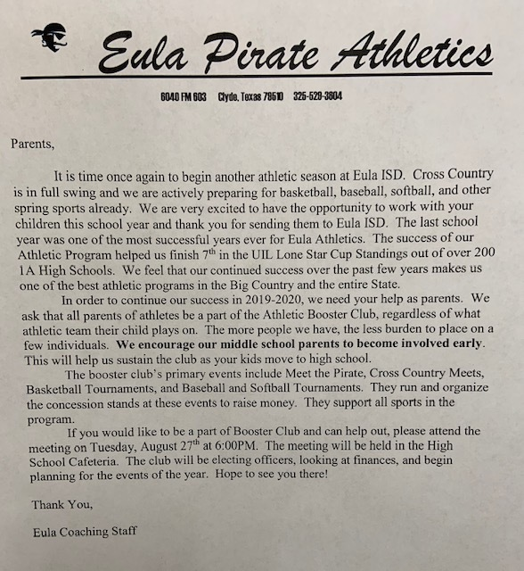 Booster Club Letter