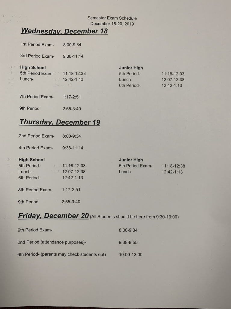 Semester exam schedule dec 19